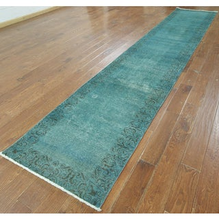 Hand-knotted Overdyed Teal Wool Runner Rug (2'7 x 16'5)