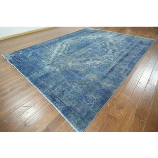 Hand-knotted Overdyed Blue Wool Area Rug (9'8 x 12'7)