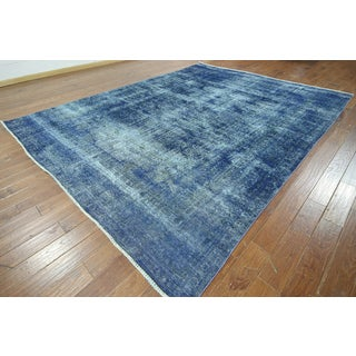 Hand-knotted Overdyed Blue Wool Area Rug (9'8 x 12'8)
