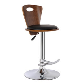Armen Living Seattle Adjustable Swivel Barstool in Chrome finish with PU upholstery and Walnut Back (color options)