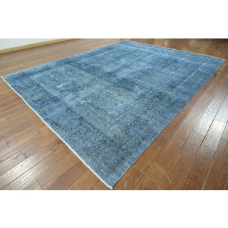 Hand-knotted Overdyed Blue Wool Area Rug (9'6 x 12'6)