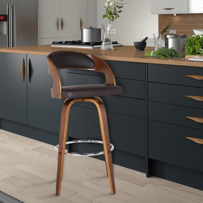 Carson Carrington Skara Walnut/ Brown Upholstered Wood Swivel Barstool