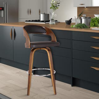 Armen Living Shelly Counter or Bar Height Swivel Barstool in Walnut Wood Finish with Brown PU|https://ak1.ostkcdn.com/images/products/11664680/P18594145.jpg?impolicy=medium
