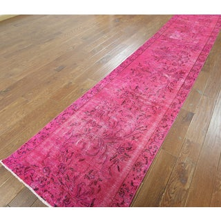 Hand-knotted Overdyed Pink Wool Runner Rug (2'10 x 14'1)
