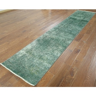 Hand-knotted Overdyed Green Wool Runner Rug (2'5 x 12'9)