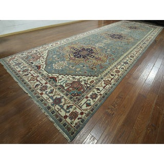Hand-knotted Serapi Blue Wool Area Rug (8'6 x 23'10)