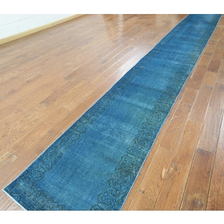 Hand-knotted Overdyed Blue Wool Runner Rug (2'4 x 19'5)