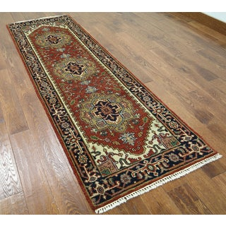 Hand-knotted Serapi Red Wool Runner Rug (2'7 x 8')