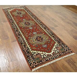 Hand-knotted Heriz Serapi Red Wool Runner Rug (2'7 x 7'10)