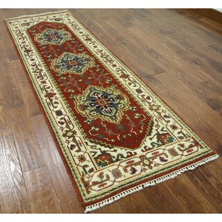 Hand-knotted Serapi Red Wool Runner Rug (2'8 x 8'2)
