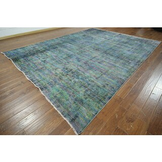 Hand-knotted Overdyed Navy/Blue Wool Area Rug (9'10 x 13'4)