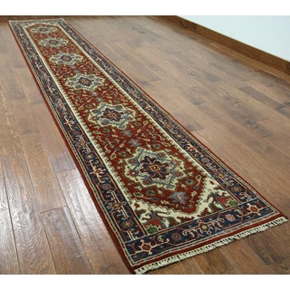Hand-knotted Heriz Red Wool Runner Rug (2'6 x 13'10)