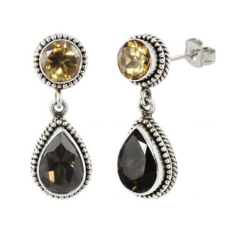 Sterling Silver Balinese Citrine and Smoky Quartz Dangle Earrings