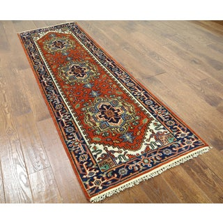 Hand-knotted Heriz Red Wool Runner Rug (2'5 x 8'1)