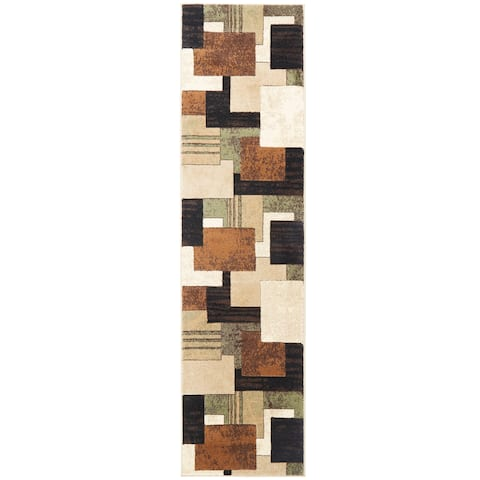 Home Dynamix Tribeca Collection Brown / Green Polypropylene Machine Made Area Rug