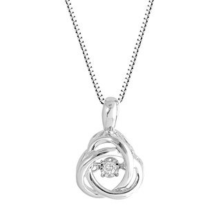 Sterling Silver Love Knot 'Dancing' Diamond Pendant