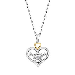 Sterling Silver and 14k Gold Plated Dancing Diamond Double Heart 'Mom' Pendant