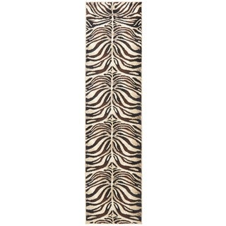 Home Dynamix Tribeca Collection Black / Ivory Polypropylene Machine Made Area Rug (2'2 x 18')