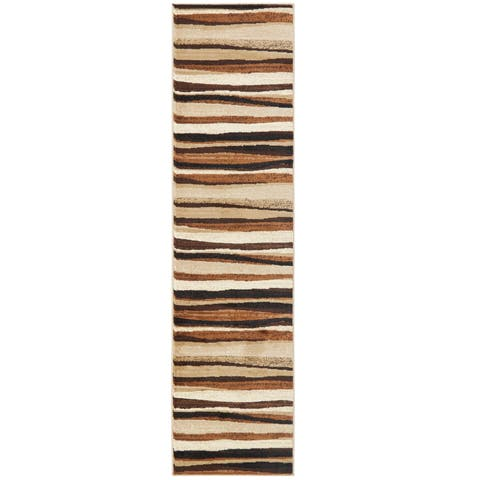 Home Dynamix Tribeca Collection Contemporary Brown Area Rug - 2'2 x 18'