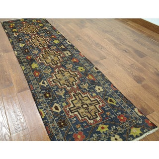 Hand-knotted Balouch Blue Wool Runner Rug (2'6 x 9'1)
