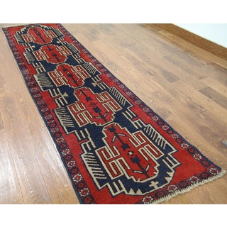 Hand-knotted Tribal Balouch Blue/Red Wool Area Rug (2'5 x 9'3)