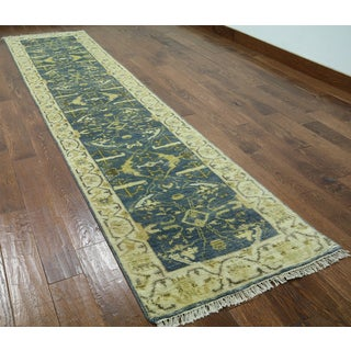 Hand-knotted Oushak Green Wool Runner Rug (2'7 x 11'5)