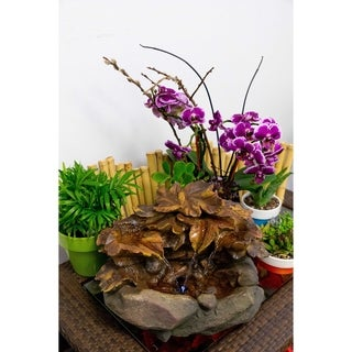 10-inch Cascading Leaf Tabletop Fountain with LED Lights