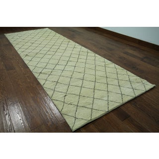 Hand-knotted Moroccan Berber Ivory Wool Runner Rug (4'3 x 12'1)