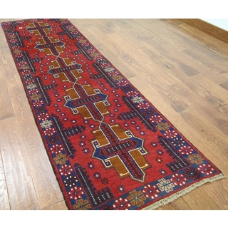 Hand-knotted Balouch Red Wool Runner Rug (2'7 x 9'3)