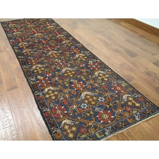 Hand-knotted Balouch Blue Wool Runner Rug (3' x 9'2)