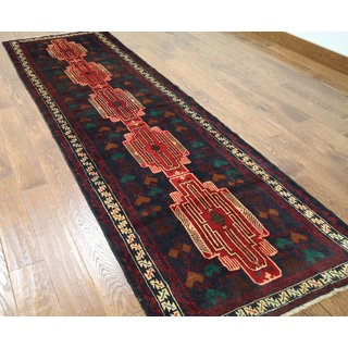 Hand-knotted Tribal Balouch Wool On Wool Runner Rug (3' x 9'5)
