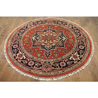 Hand-knotted Heriz Serapi Red Wool Area Rug (5'1 x 5'1)