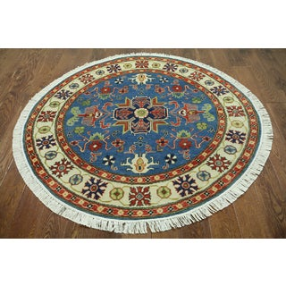 Hand-knotted Super Kazak Blue Wool Area Rug ( 5'1 x 5'1)
