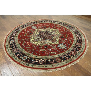 Hand-knotted Heriz Serapi Red Wool Area Rug (6'1 x 6'1)