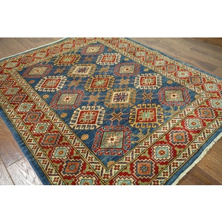 Hand-knotted Super Kazak Blue Wool Area Rug (5'9 x 7')