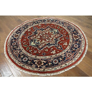 Hand-knotted Serapi Red Wool Area Rug (5' x 5')