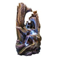 Alpine 5-Tiered Rainforest Tree Trunk Fountain w/ LED Lights, 40 Inch Tall