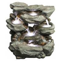 Alpine Rainforest Waterfall Fountain w/ LED Lights, 31 Inch Tall