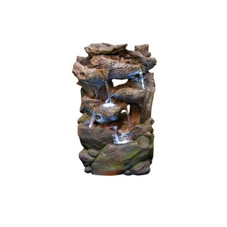 22-inch Tiered Rainforest Waterfall Fountain with LED Lights