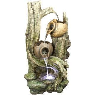 39-inch Tiered Jars Rainforest Tree Trunk Fountain with White LED