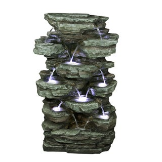 Alpine Corporation Multi-Tier Rock Pond Water Fountain with LED Lights