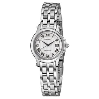Seiko Permier Women's SXDE01 Stainless Steel Silver Tone Roman Numeral Sapphire Crystal Watch with a Date Window