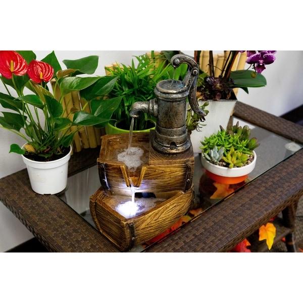 Shop Alpine 2-Tier Water Pump Barrel Fountain w/ LED Light