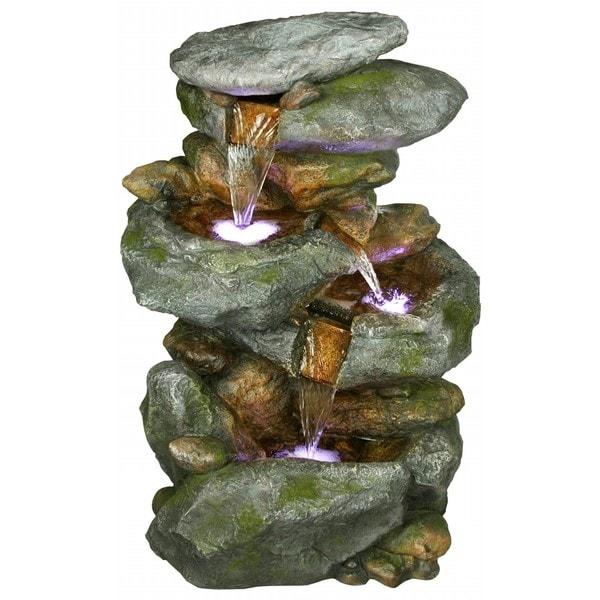 Alpine 4-Tiered Rock Waterfall Fountain w/ LED Lights, 22 Inch Tall