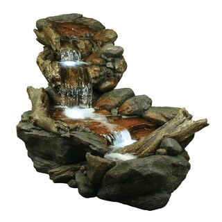 Alpine 3 Tier Rainforest Fountain w/ LED Lights, 28 Inch Tall