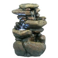 11-inch Tiered Rock Tabletop Fountain with LED Lights