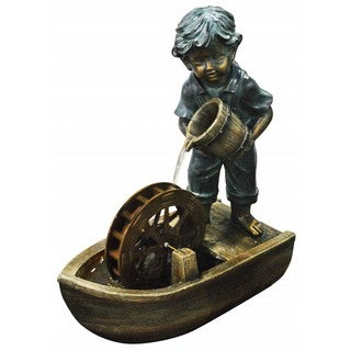 24-inch Boy with Bucket Boat Fountain