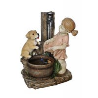 Alpine Girl w/ Dog Spout Bucket Fountain, 20 Inch Tall
