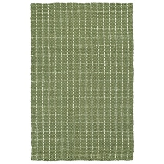 "Handmade Jute Eastbay Green & Ivory Checker Rug (20"" x 30"")"