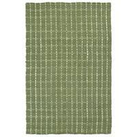 Handmade Jute Eastbay Green & Ivory Checker Rug (1'8 x 2'6)